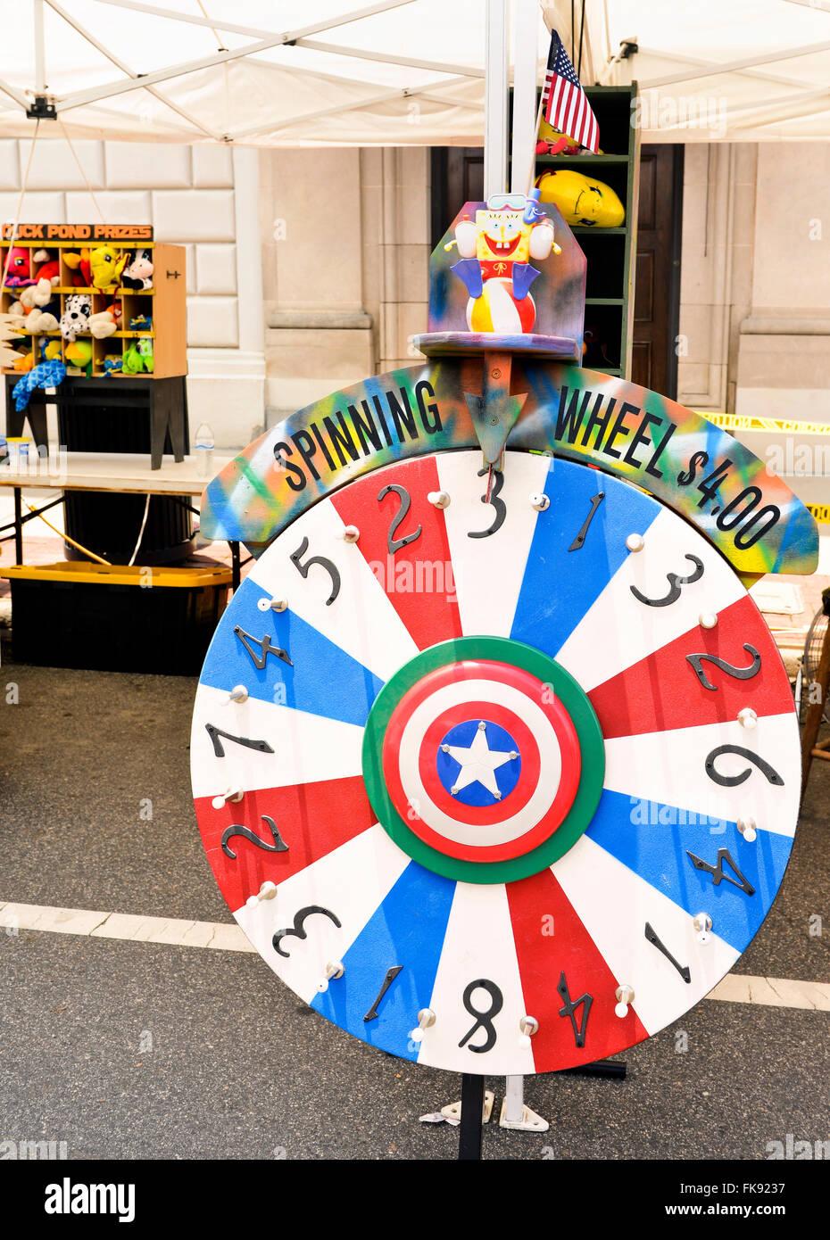 Carnival, festival, fair spinning wheel game Stock Photo