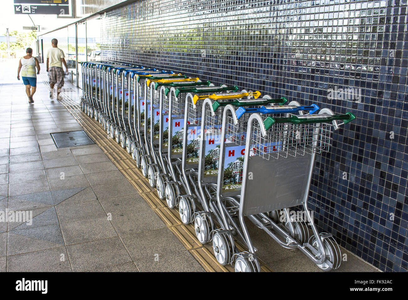 Carts for luggage transportation from Londrina Airport - Governor Jose Richa - Stock Image