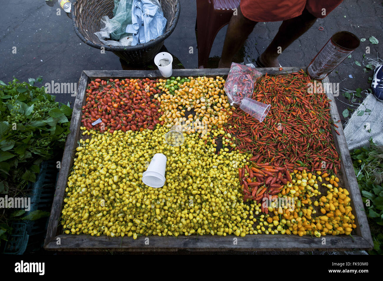 Peppers for sale in the market Ver-o-Peso - largest free fair in Latin America - Old Town - Stock Image