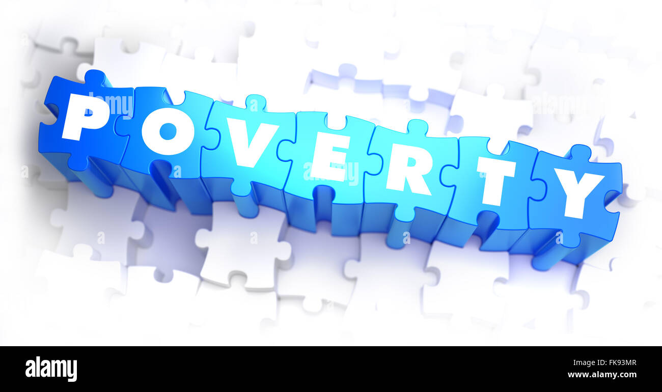 Poverty - Text on Blue Puzzles. Stock Photo