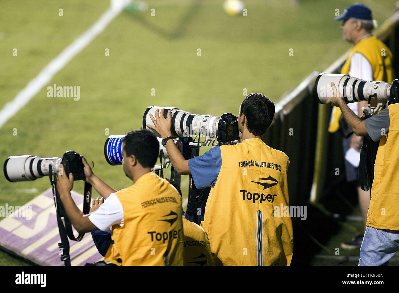 Photographers working during soccer match at Estadio do Pacaembu - Stock Image