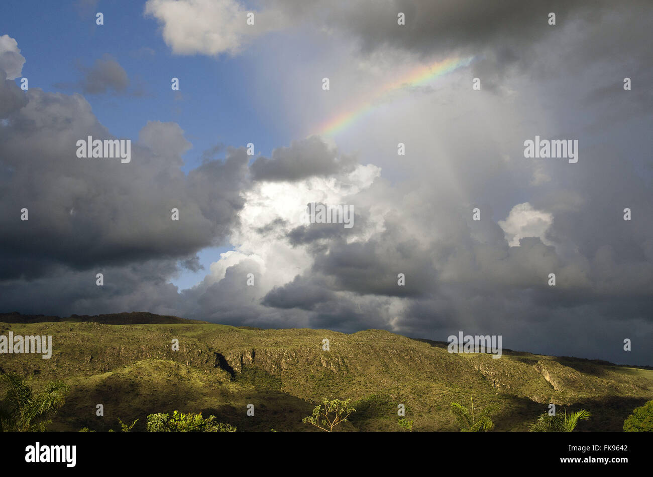 Rainy weather with bow in the Serra da Canastra - Stock Image