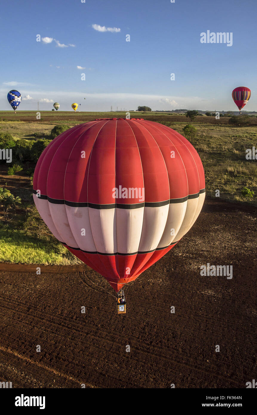 Balloons flying during the Championship Balloon - Stock Image