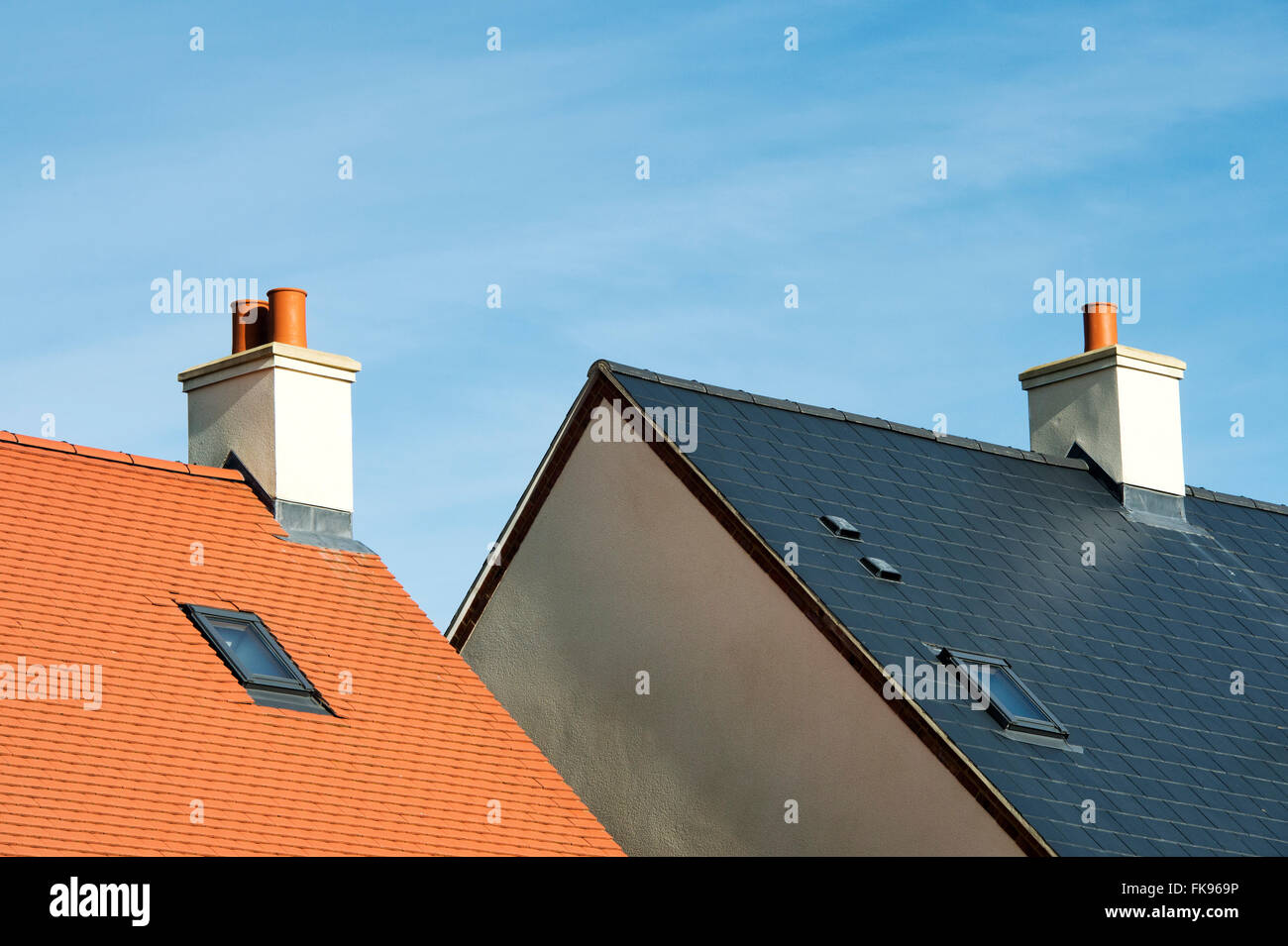 New house building roof abstract. Bicester, Oxfordshire, England Stock Photo