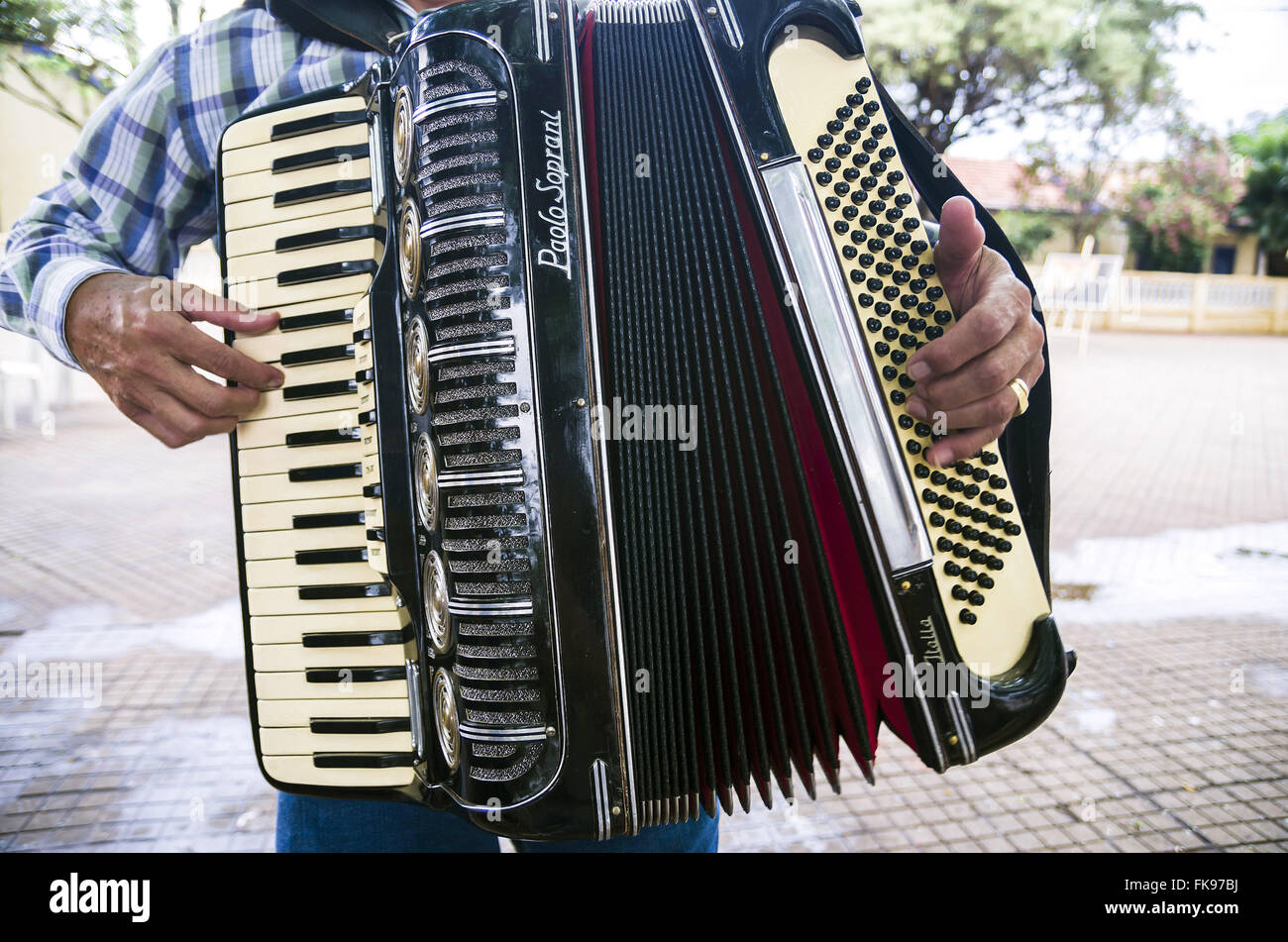 Accordion being played by musician - Stock Image