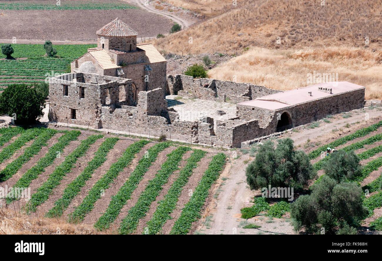 Orthodox Christian monastery of Panagia Sinti (Virgin of Sinti) at Paphos area in Cyprus - Stock Image