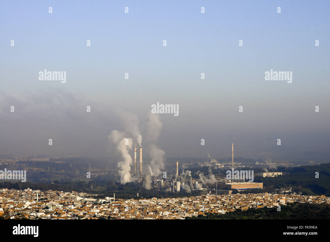 Air pollution in the municipality in the State of Sao Paulo - Stock Image