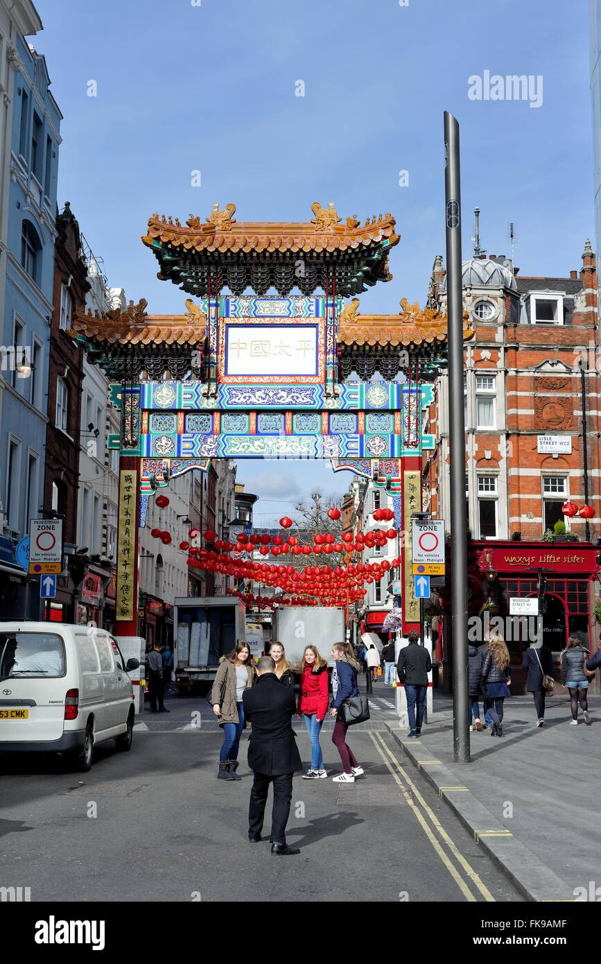 Chinese gate on Wardour street central London UK Stock Photo