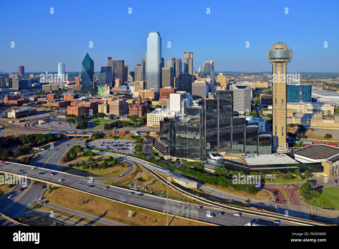 Downtown Dallas, Texas from the air - Stock Image