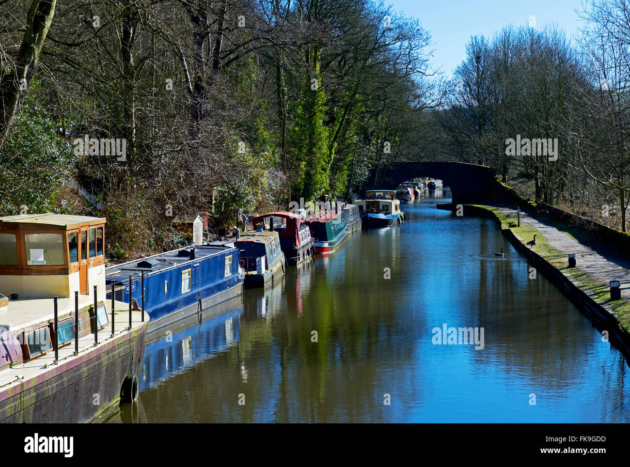The Rochdale Canal at Hebden Bridge, Calderdale, West Yorkshire, England UK - Stock Image
