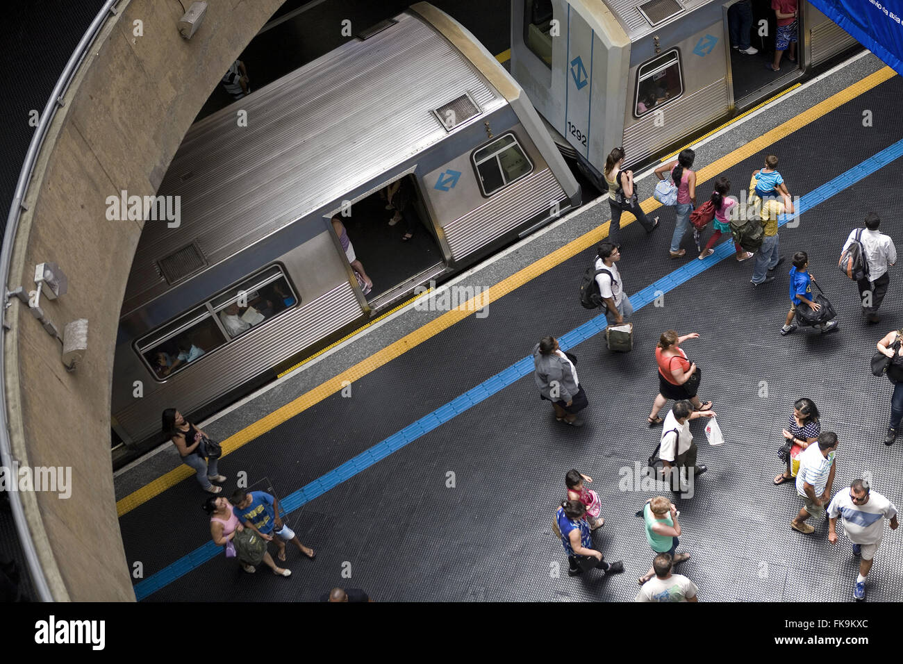 Top view of the railway passenger handling If the meter - center - Stock Image