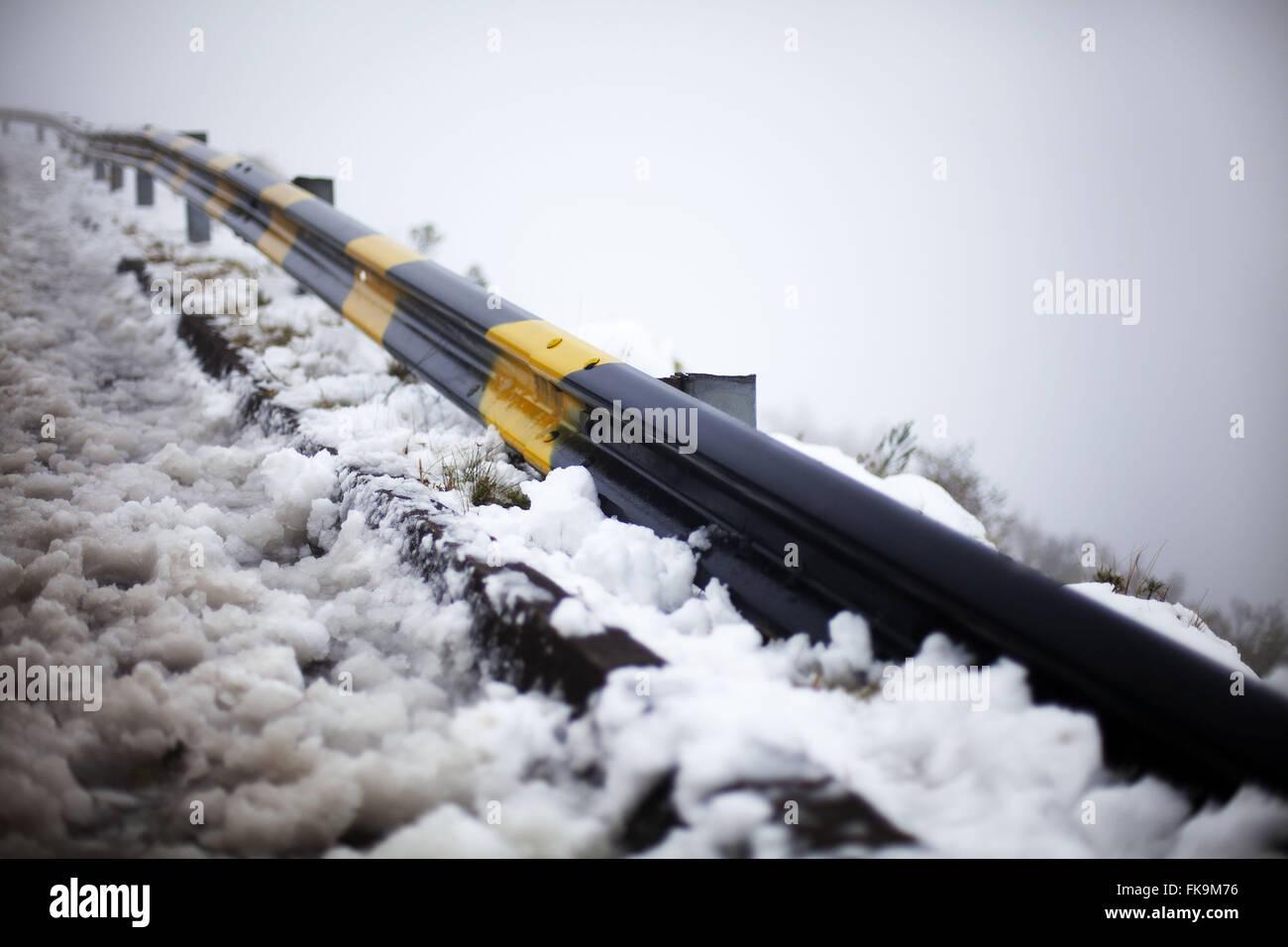 Snow in Urubici - Guard Rail Road SC - 439 Church Hill City Urubici - Stock Image