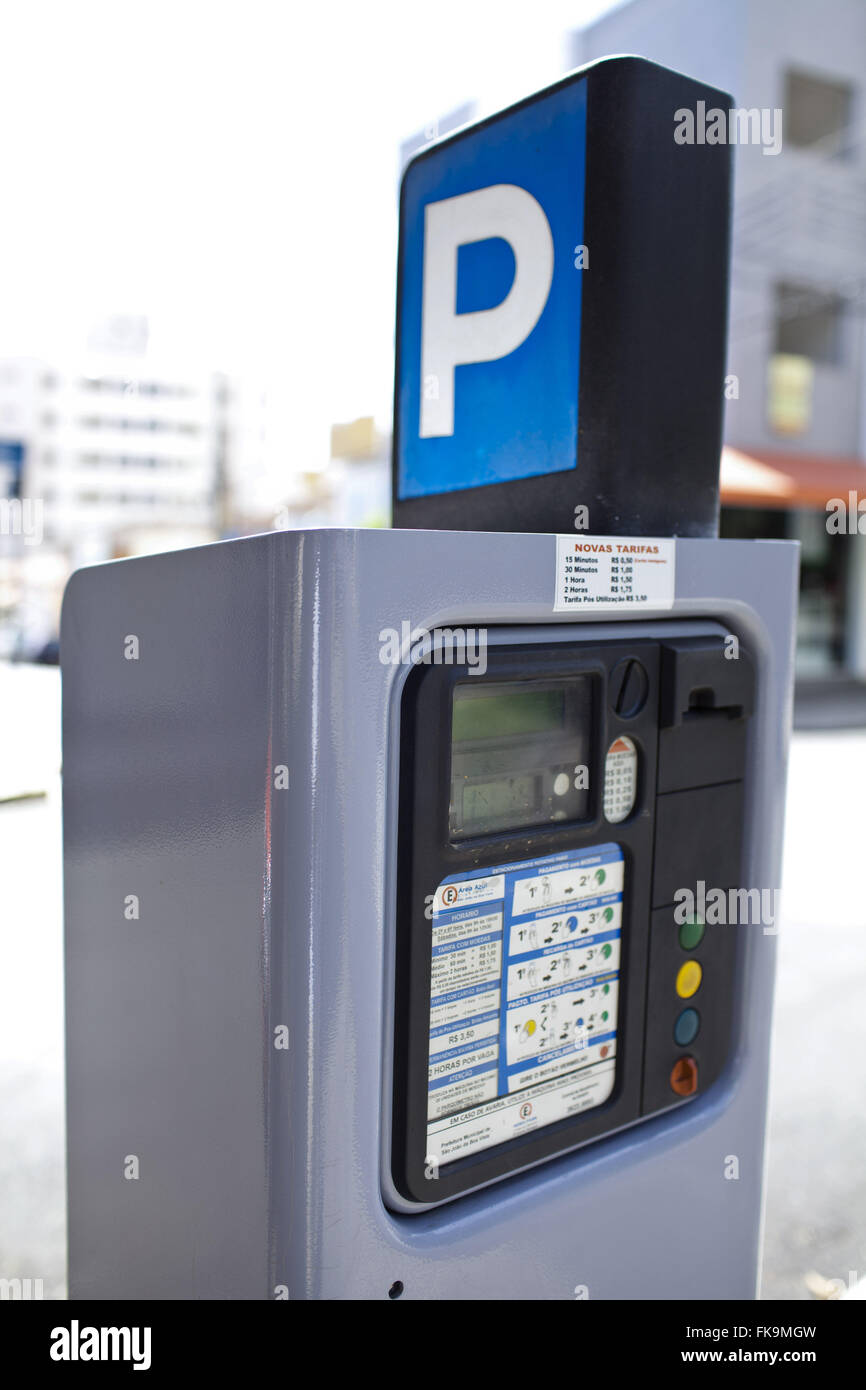Metered in a street of the city center - Stock Image