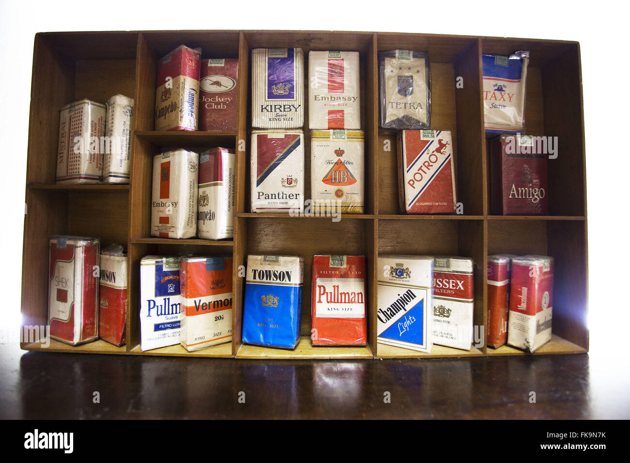 Drugs cigarettes of brands preserved in old cigar - Stock Image