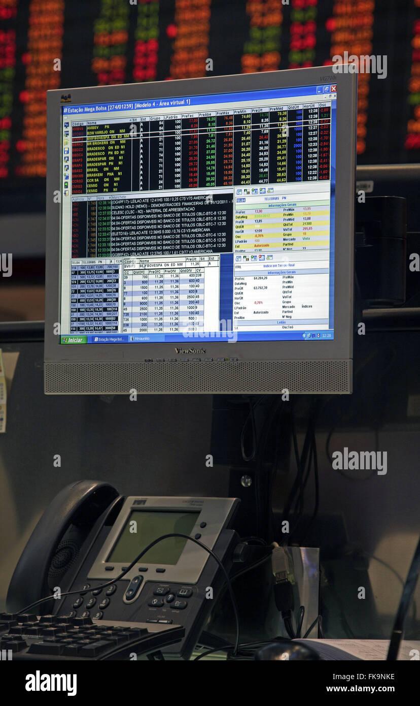 Detail of table operations business simulation - BOVESPA - Bolsa de Valores de Sao Paulo - Stock Image