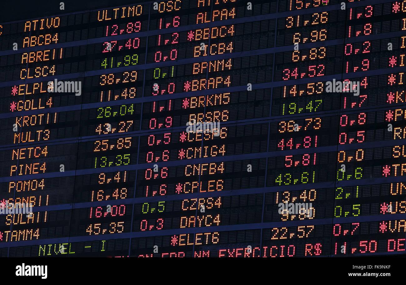 BOVESPA - Bolsa de Valores de Sao Paulo - luminous panel indicates the quotations - Stock Image