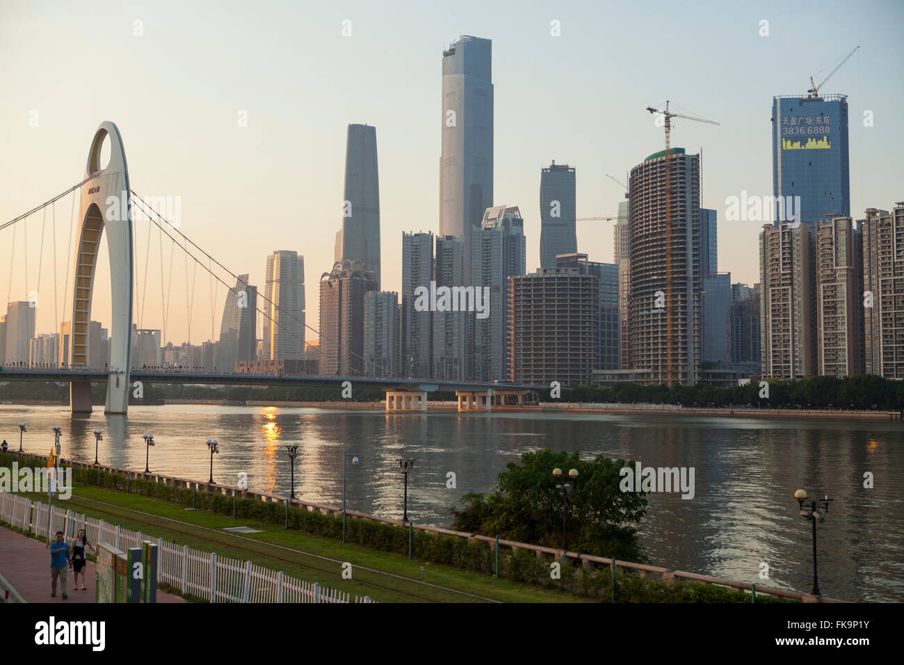 Leide Bridge and Pearl River, Guangzhou, China - Stock Image