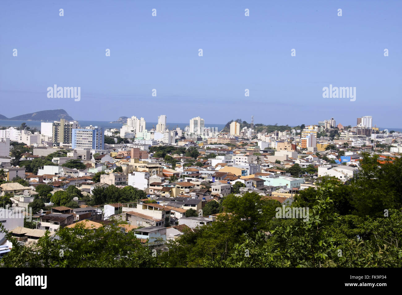 Partial view of the city of Macae from Morro Santana - North Fluminense region - Stock Image