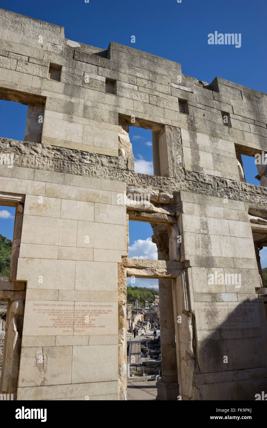 The library of Celsius at the ancient Greek and Roman periods city of Ephesus in Turkey - Stock Image
