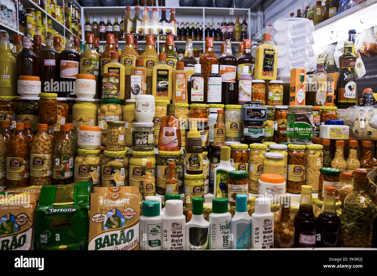 Foodstuffs to sell products in the Guara Fair Stock Photo