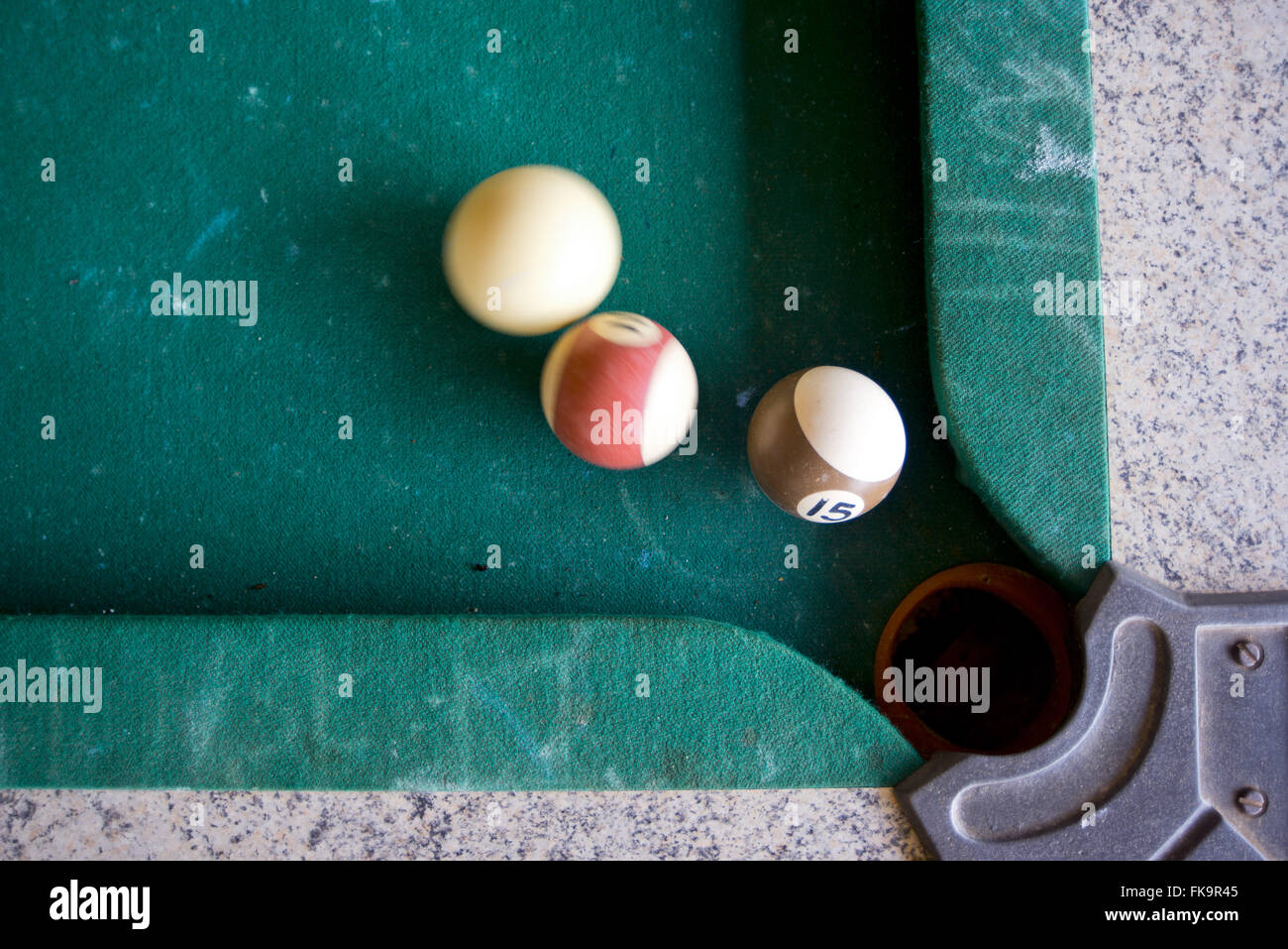 Snooker game at a bar in the Amazon region - Stock Image