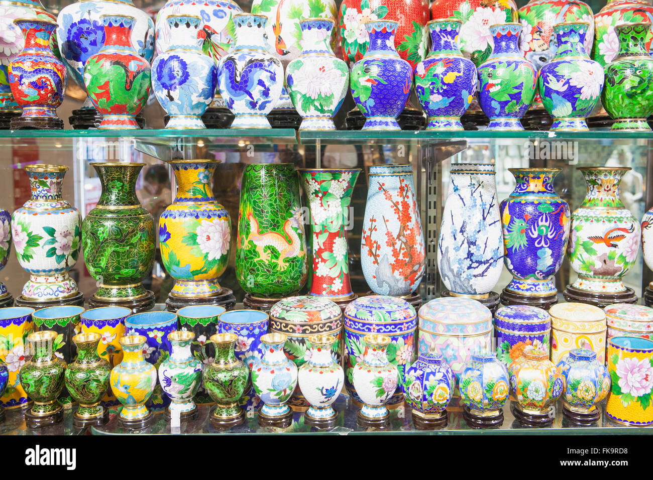 cloisonne jars and vases in a shopping mall, Beijing, China - Stock Image