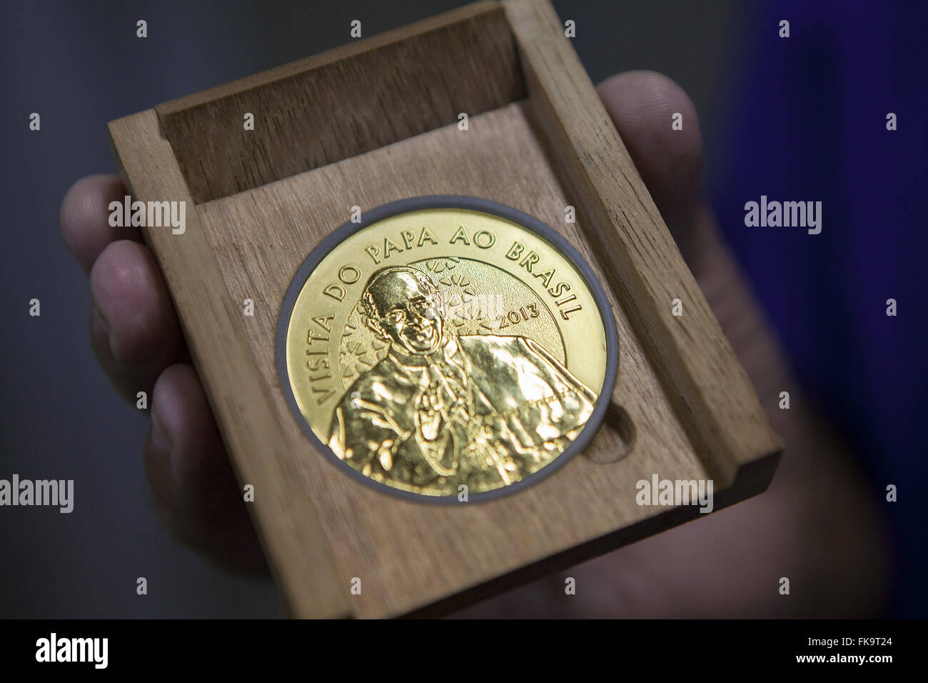 Commemorative coin of the Pope`s visit in 2013 made by Francisco Mint - Stock Image