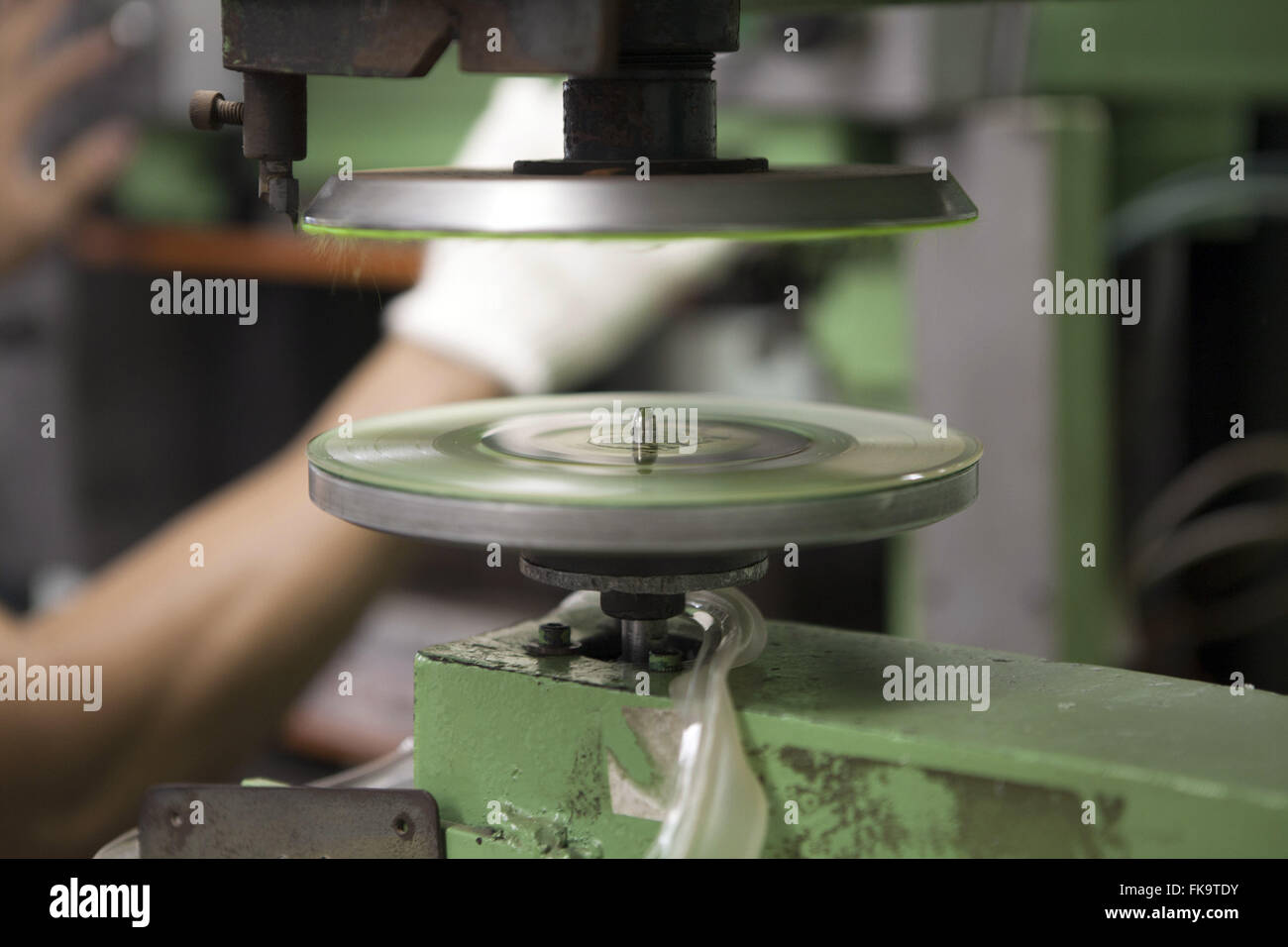 Vinyl record production - last manufactures of the country - Stock Image