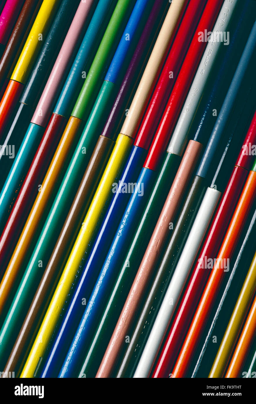 Close-up of colorful drawing pencils - Stock Image