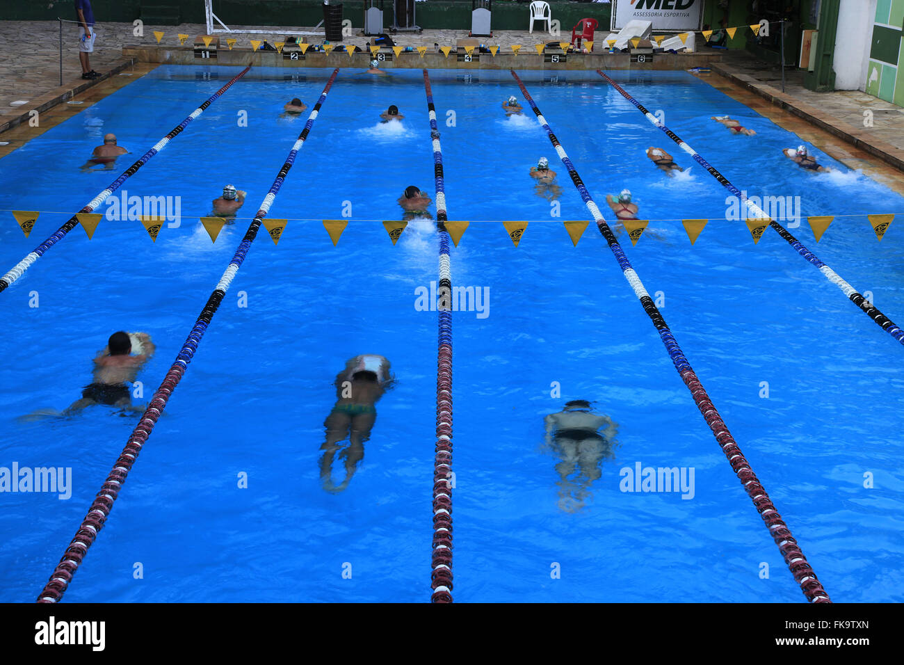 Swimming training in the semi olympic pool Athletic Association Academica Oswaldo Cruz - Stock Image