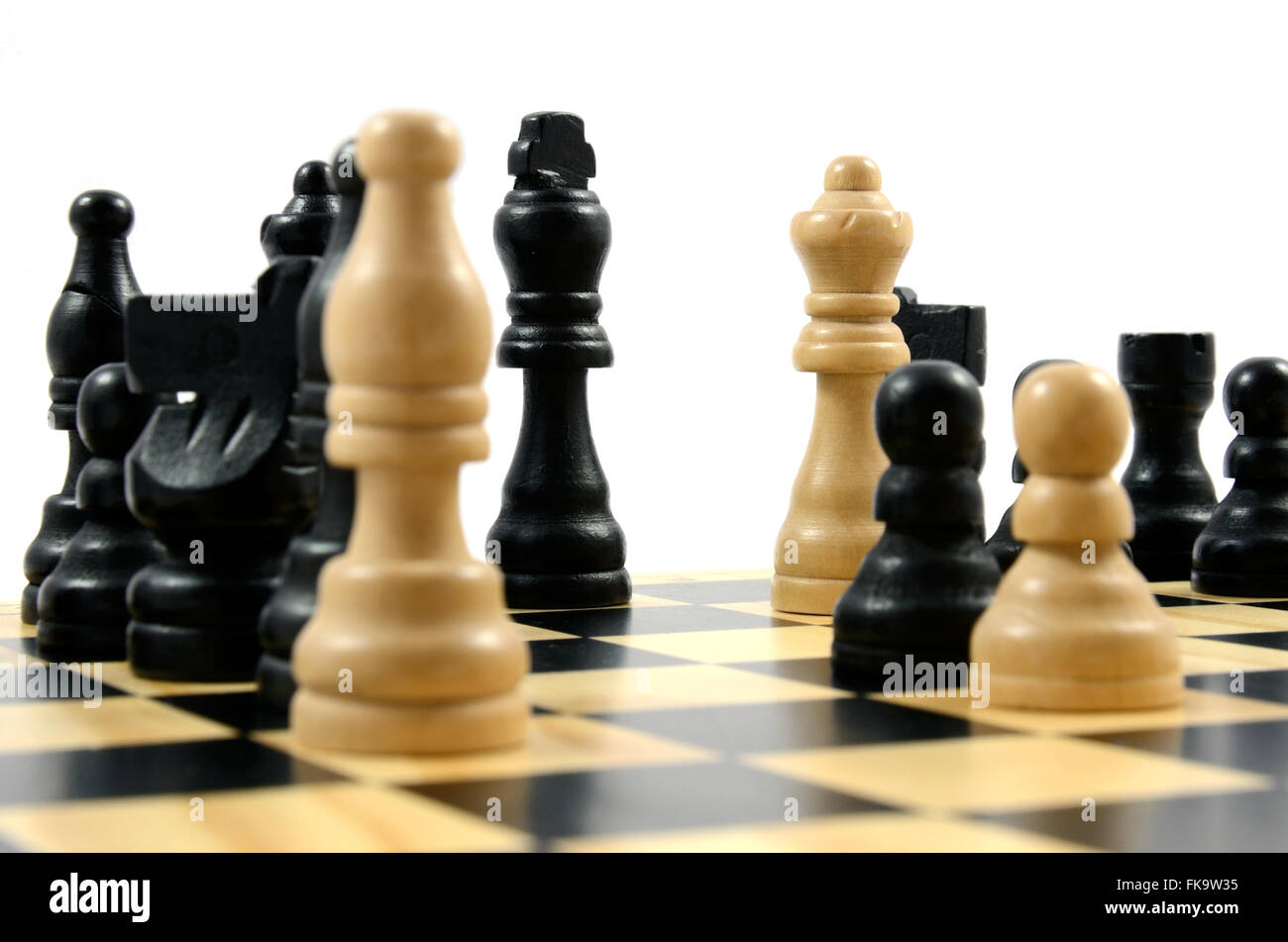 A close up of a games of chess. Black has been checkmated. - Stock Image