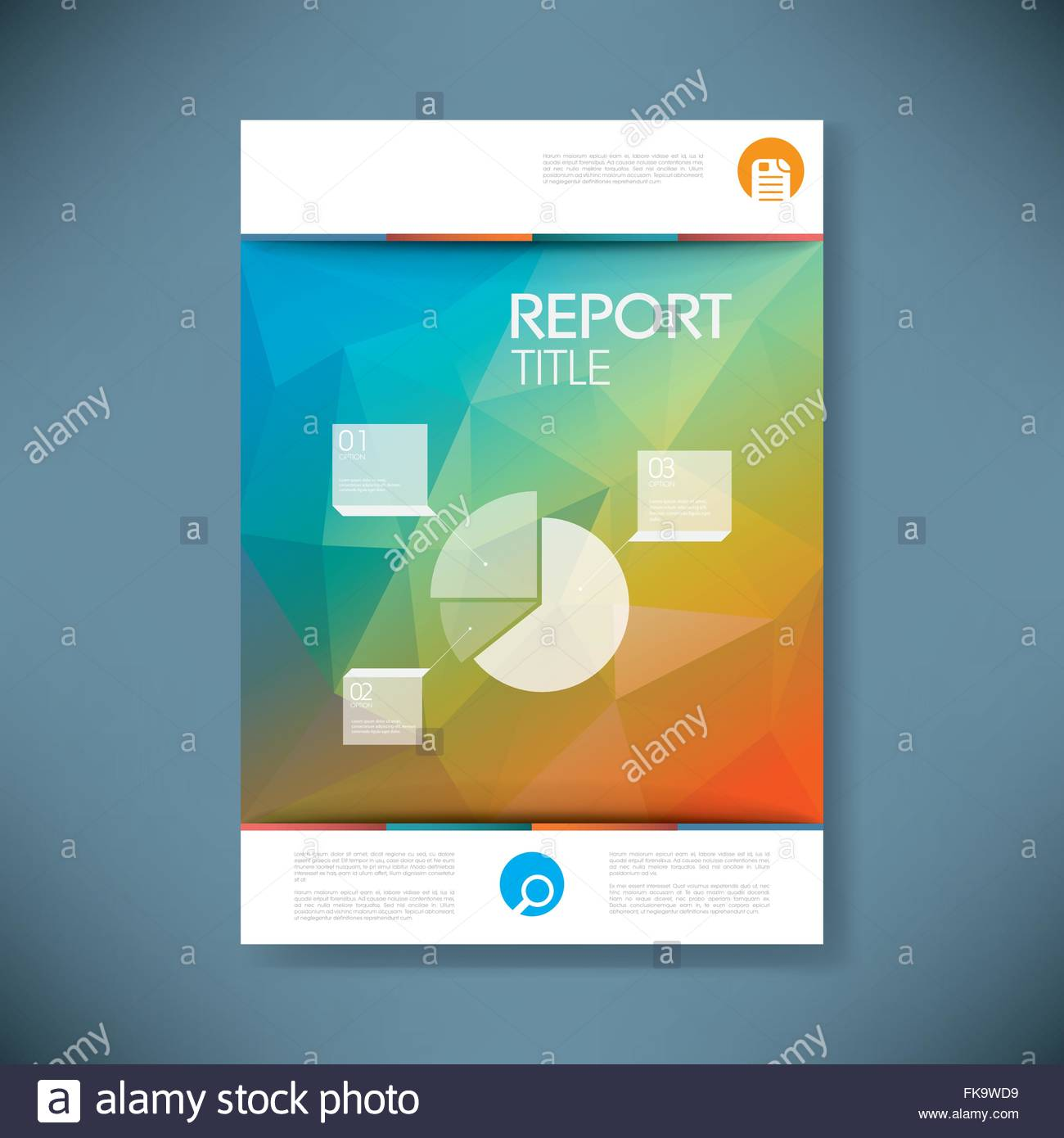 report cover template with pie chart symbol and 3d low poly vector, Low Poly Business Presentation Template, Presentation templates