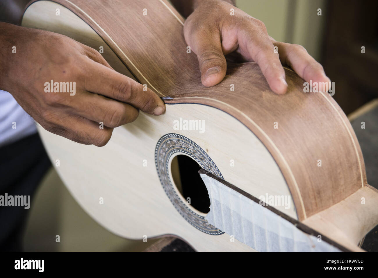 Luthier giving finishing a string instrument - Stock Image