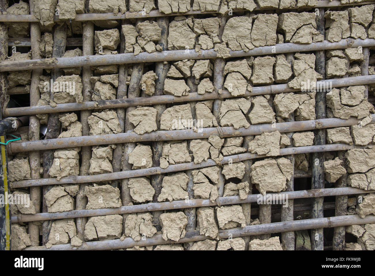 Detail of house walls of wattle and daub in Quilombo Pedro Cubas - Stock Image