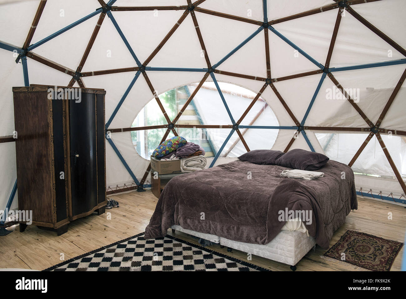 Inside view of sustainable roof tent and canvas - Stock Image
