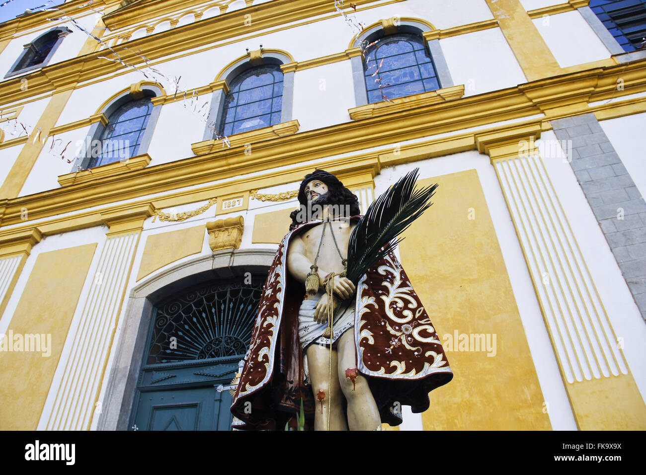 Image of the patron Good Jesus in front of the Santuario of the same name - Stock Image