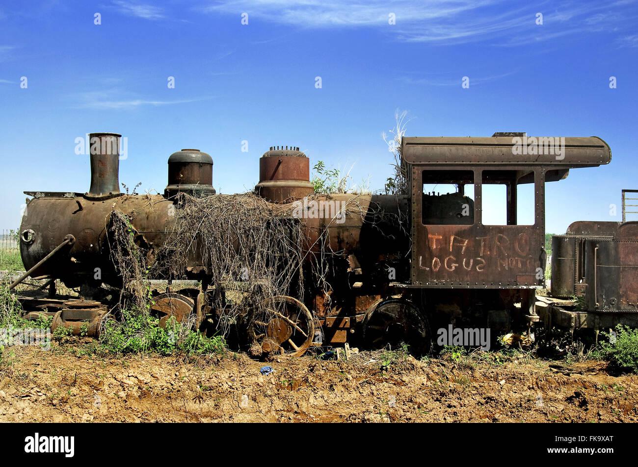 Locomotive in the ruins of the Madeira-Mamore in Porto Velho - Stock Image