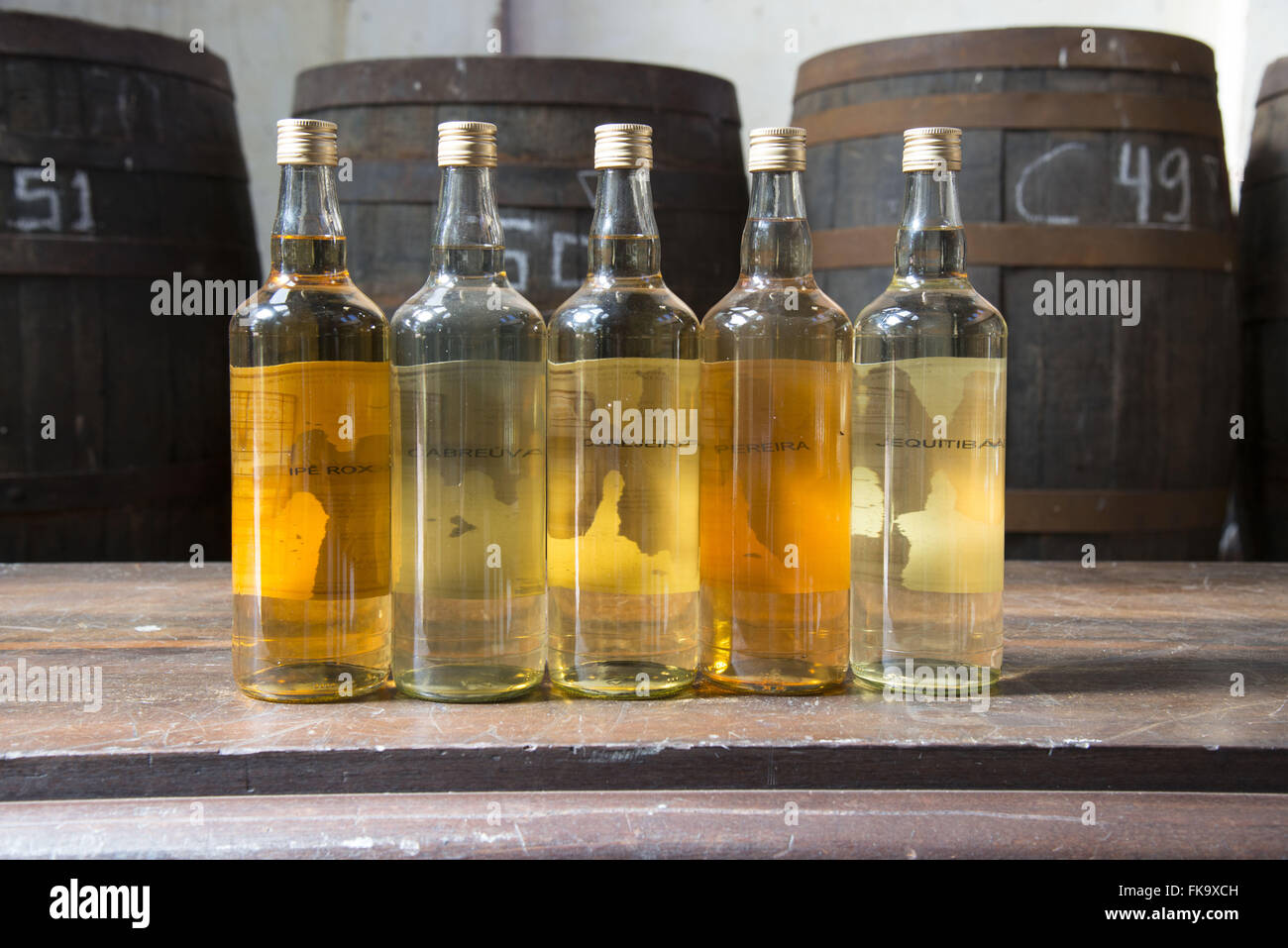 Aged spirits craft in different types of barrels - Stock Image