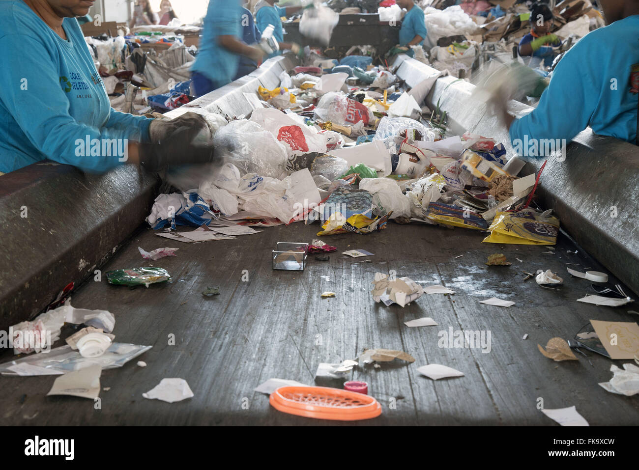 Treadmill for separation of recyclable materials - Stock Image