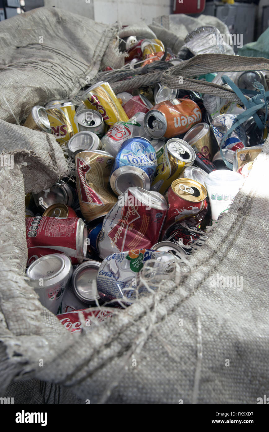 Bag with separate aluminum cans for recycling - Stock Image