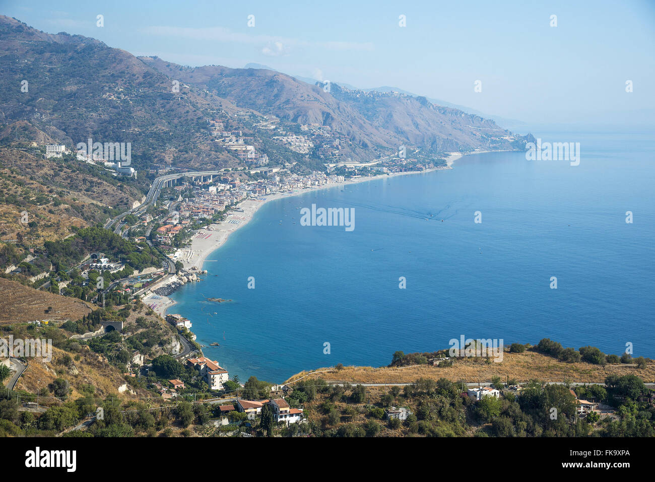 View of the coast of the city on the shores of the Ionian Sea - the Mediterranean Sea arm - Stock Image