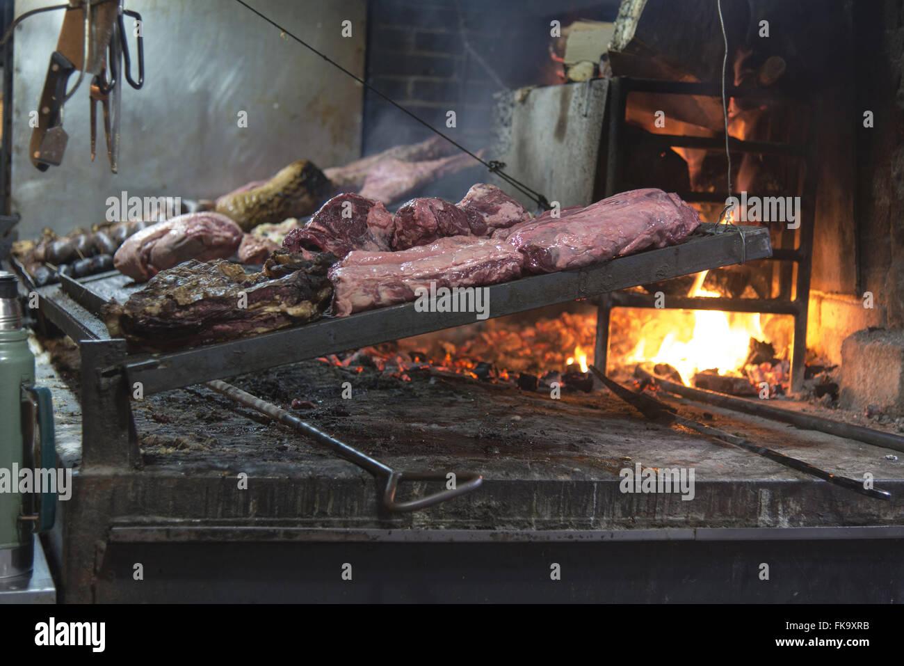 Barbecue prepared in the Port Market - Stock Image