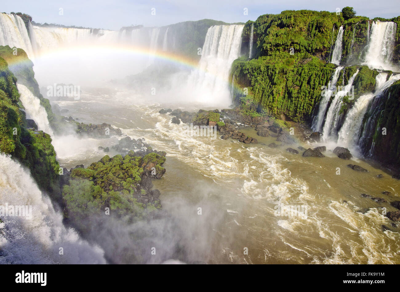 Rainbows in the Iguaçu Falls in Iguaçu National Park - Stock Image