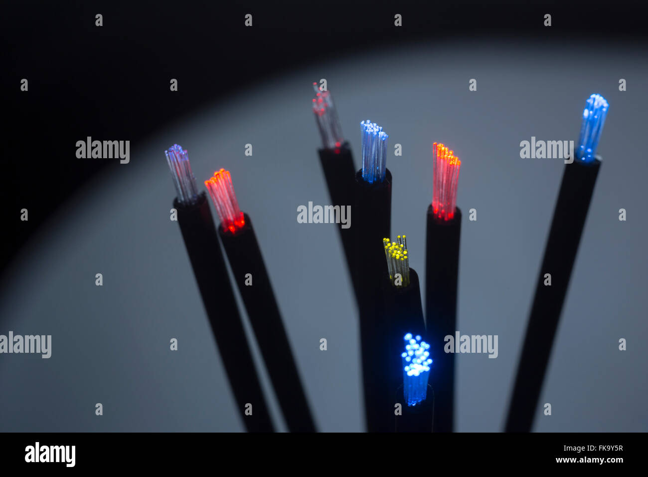 LIT TIPS OF FIBER OPTIC CABLES (©KECK MAURER & SCHULTZ / CORNING GLASS WORKS 1970) - Stock Image