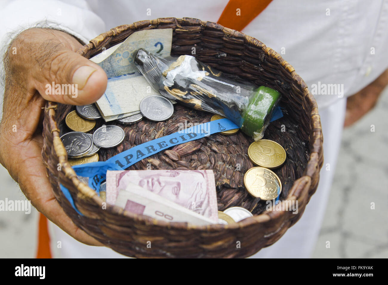 Collecting donations at the Feast of Saint Benedict - Stock Image