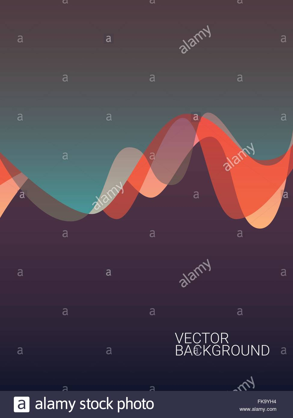 Abstract colorful background with overlay waves  Suitable