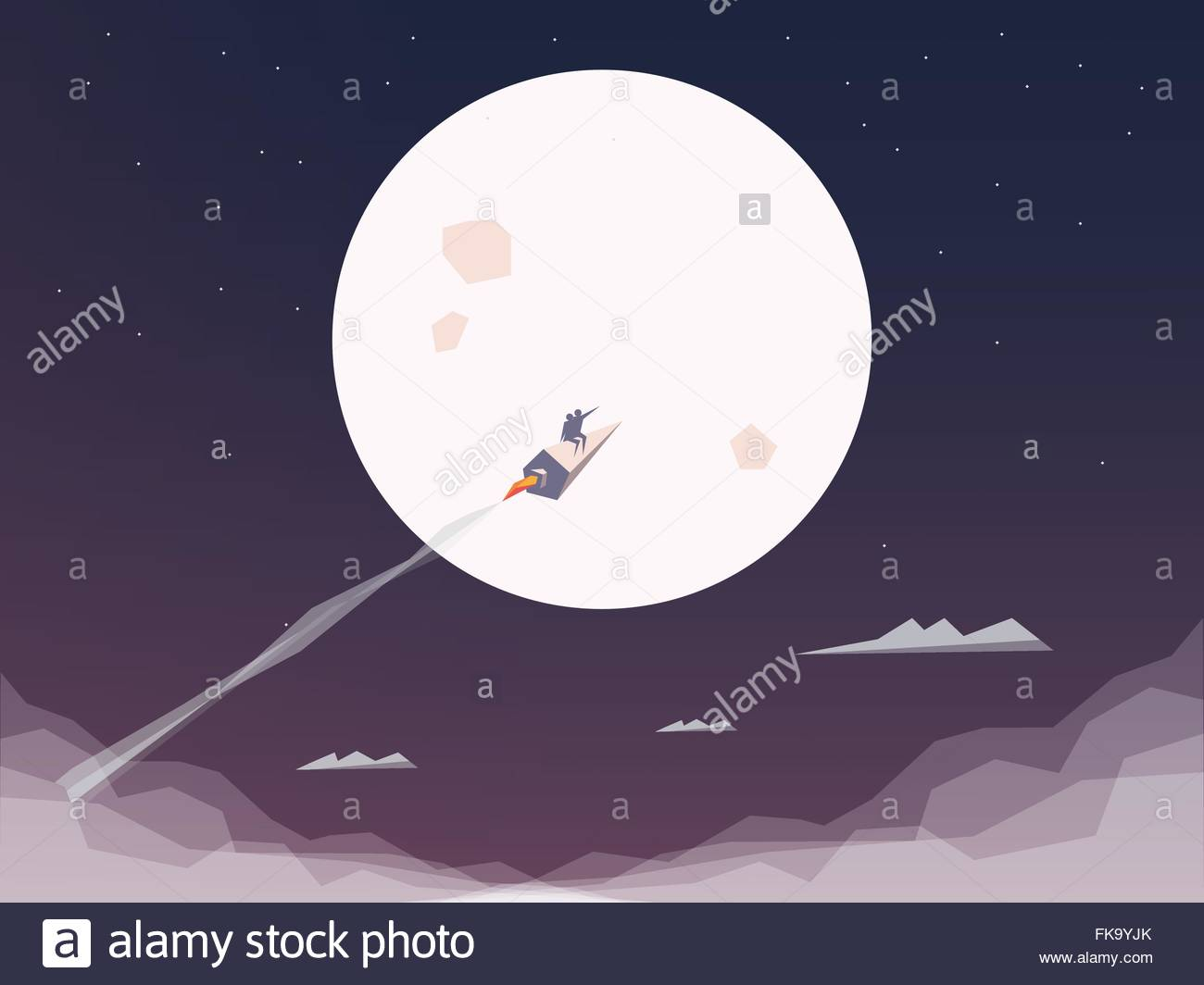 Space rocket flying to the moon. Startup business symbol. Technology innovation background or wallpaper.