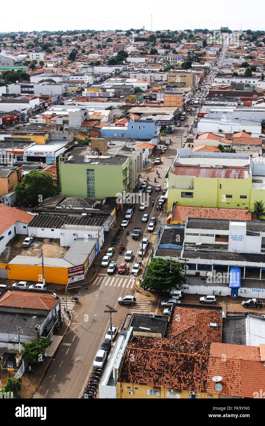 Top view of the street in a residential area in the city center - Stock Image