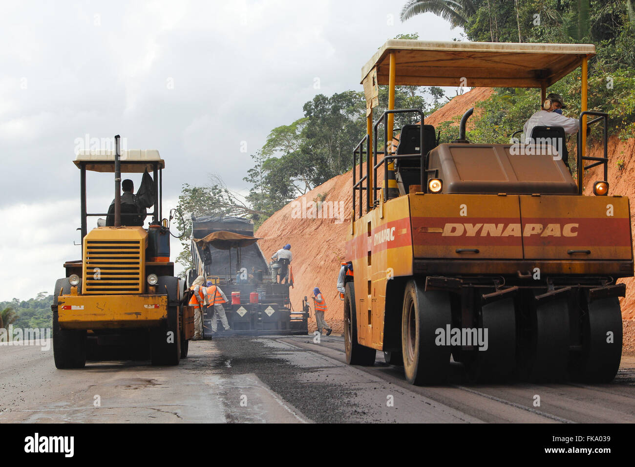 Rollers into works of paving on Highway Cuiaba-Santarem BR 163 - Stock Image