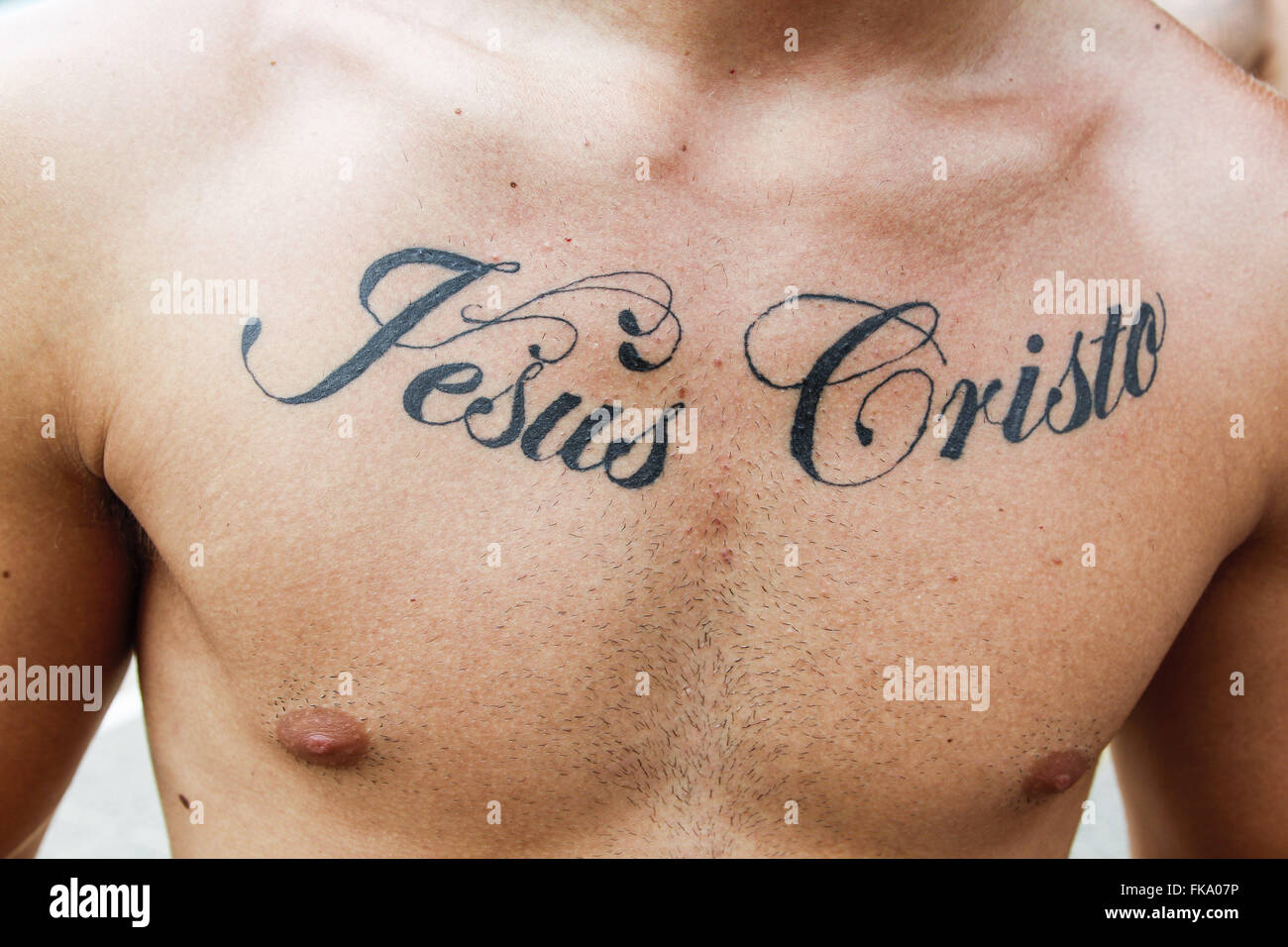 Jesus Christ Tattoo High Resolution Stock Photography And Images Alamy Jesus christ on those images can be featured praying, wearing a crown of thorns or. https www alamy com stock photo reveler with tattoo on chest with writing jesus christ during the 97950042 html